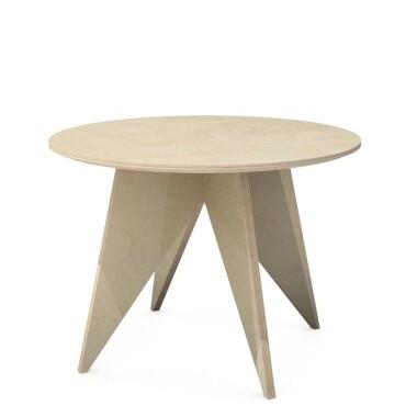 Nowoczesny minimalistyczny drewniany okrągły stolik kawowy ze sklejki brzozowej na czterech trójkątnych nogach