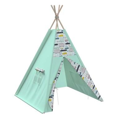 Tipi - teepee - namiot dla dzieci , najlepsze miejsce do zabawy w pokoju dziecięcym. Kolor miętowy