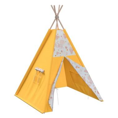 Tipi - teepee - namiot dla dzieci , najlepsze miejsce do zabawy w pokoju dziecięcym. Kolor żółty.