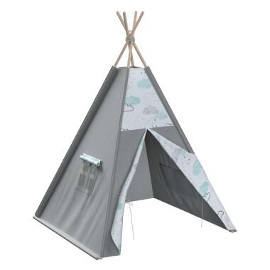 Tipi - teepee - namiot dla dzieci , najlepsze miejsce do zabawy w pokoju dziecięcym. Kolor szary. w chmurki
