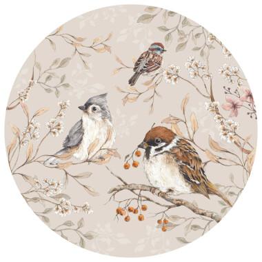Naklejka na ścianę do pokoju dziecka/ miłośnika ptaków- ptaki wróble w kole