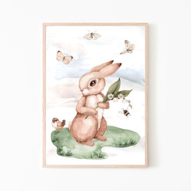 Króliczek- plakat dla dzieci, motyle ptaszki