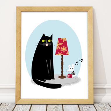 Plakat do pokoju dziecka kot i mysz cat and mouse.