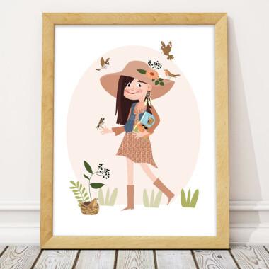 Plakat obrazek ilustracja do pokoju dziecka- dziewczynka i ptaki