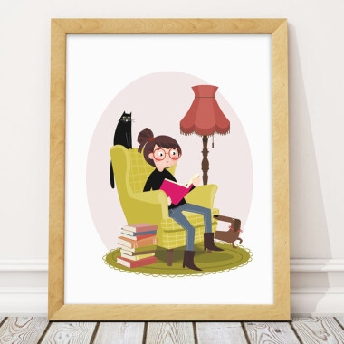 Plakat obrazek ilustracja do pokoju dziecka- dziewczynka czytająca książkę