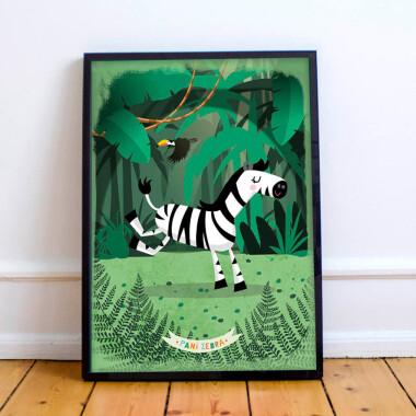 Plakat do pokoju dziecka/przedszkola --dzungla-zyrafa-dzungla-zebra