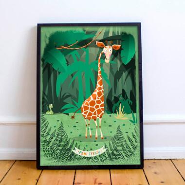 Plakat do pokoju dziecka/przedszkola --dzungla-zyrafa