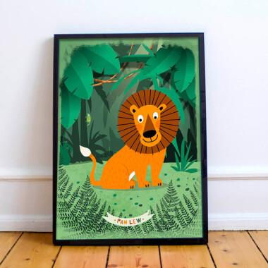 Plakat do pokoju dziecka-dzungla-lew