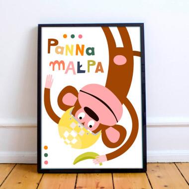 Plakat do pokoju dziecka/przedszkola -małpa