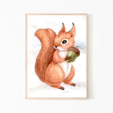Wiewiórka-plakat obrazek do pokoju dziecka