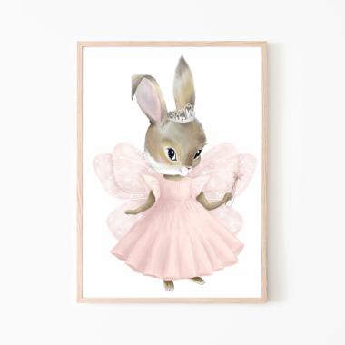Królik dziewczynka -plakat, obrazek