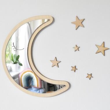 Bezpieczne lustro w kształcie księżyca z gwiazdkami do pokoju dziecka.