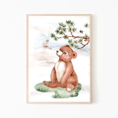 Miś -  plakat obrazek do pokoju dziecka