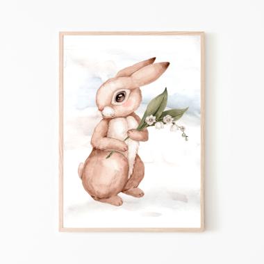 Króliczek- plakat dla dzieci, kwiatki