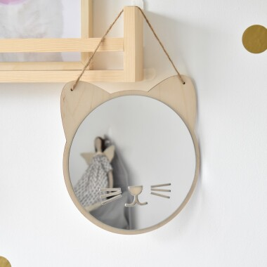 Dekoracja do pokoju dziecka- bezpieczne lustro w kształcie kotka
