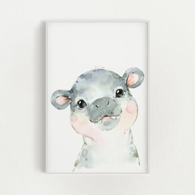hipopotam-akwarela-plakat-dekoracyjny