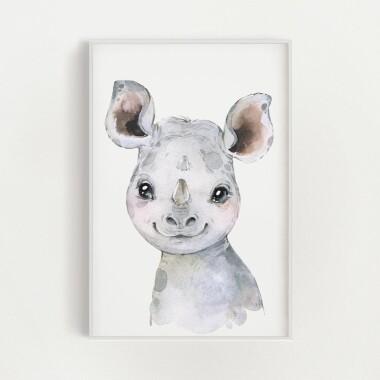 Plakat dekoracyjny obrazek akwarela do pokoju dziecka- nosorożec  zwierzęta