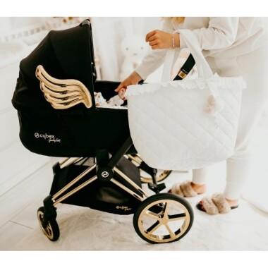 Torba dla mamy do wózka na akcesoria dla niemowląt, ubranka pieluchy, biała z falbanką