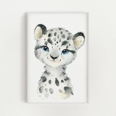 sniezna-pantera-akwarela-plakat-dekoracyjny
