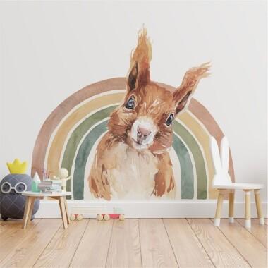 teczowa-wiewiorka-akwarela-kolor-naklejki-na-sciane-dla-dzieci