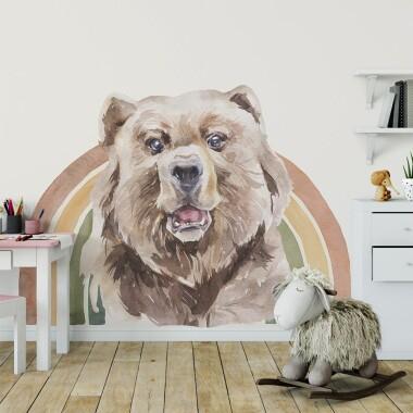 Tęczowy Niedźwiedź Akwarela Kolor - Naklejki Na Ścianę Dla Dzieci