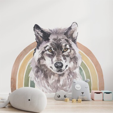 Tęczowy Wilk Akwarela Kolor - Naklejki Na Ścianę Dla Dzieci