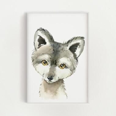 wilczek-akwarela-plakat-dekoracyjny