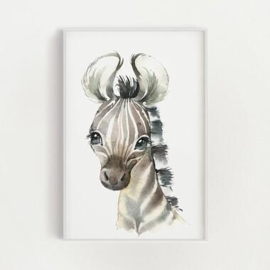 zebra-akwarela-plakat-dekoracyjny