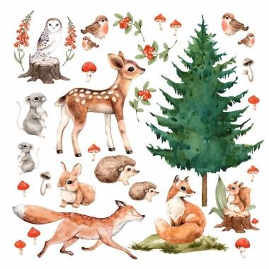 lesne-zwierzatka-=naklejki-na-sciane-dla-dzieci-l