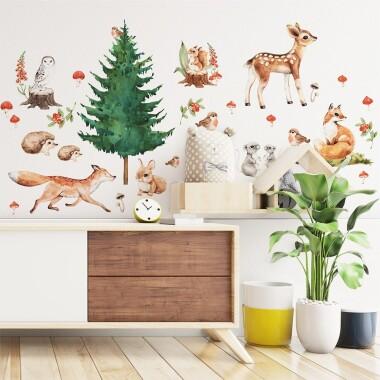 lesne-zwierzatka-naklejki-na-sciane-dla-dzieci-m