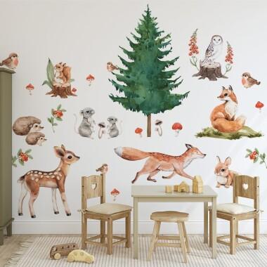 lesne-zwierzatka-naklejki-na-sciane-dla-dzieci-xxl