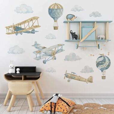 Retro balony i samoloty -naklejki na ścianę do pokoju dziecka