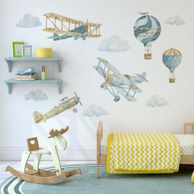 Retro Balony I Samoloty - Naklejki Na Ścianę Dla Dzieci - Zestaw 6