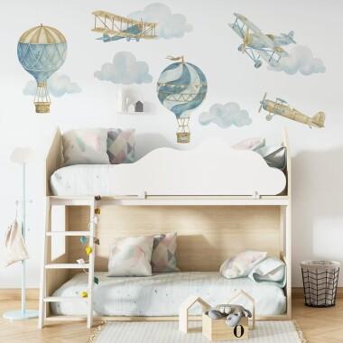 retro-balony-i-samoloty-naklejki-na-sciane-dla-dzieci-zestaw-3
