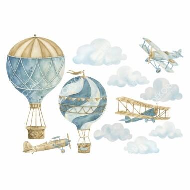 retro-balony-i--samoloty-naklejki-na-sciane-dla-dzieci-zestaw-4