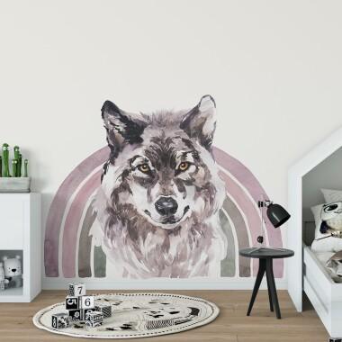 teczowy-wilk-akwarela-naklejki-na-sciane-dla-dzieci