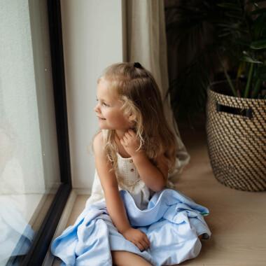 Kołderka obciążeniowa, sensoryczna, terapeutyczna- ciężka kołderka do terapii SI dla dzieci- niebieska/ błękitna