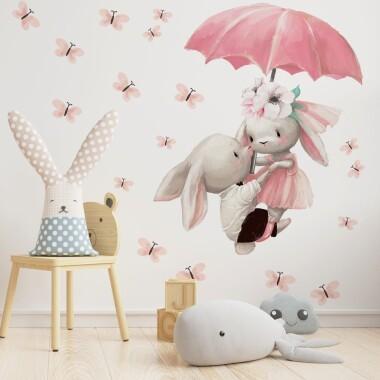 kroliczki-z-parasolka-motylki-naklejki-na-sciane-dla-dzieci