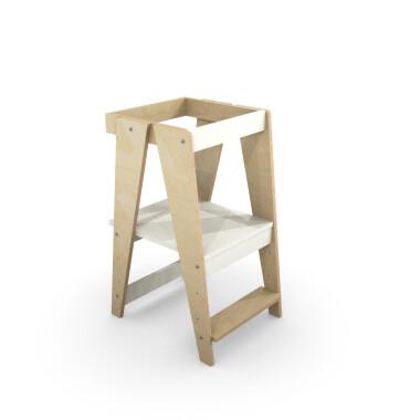 pomocnik kuchenny-kitchen helper stołek do kuchni dla dziecka, biały z drewnem