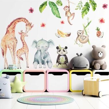 lesna-ferajna-tropikalne-zwierzatka-naklejki-na-sciane-dla-dzieci-zestaw-1