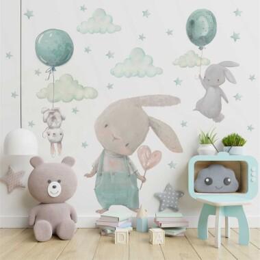 mietowe-kroliczki-balony-naklejki-na-sciane-dla-dzieci