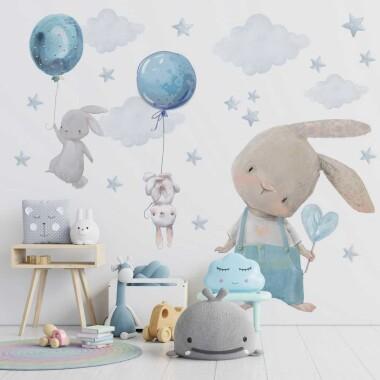 niebieskie-kroliczki-balony-naklejki-na-sciane-dla-dzieci