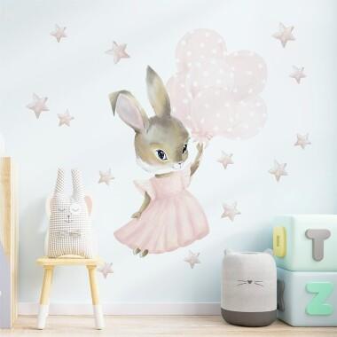 Pastelowy Króliczek Z Balonami - Naklejki Na Ścianę Dla Dzieci