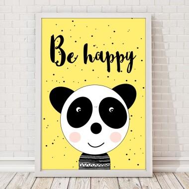 PLAKAT-DLA-DZIECI-panda-żółta-be-happy