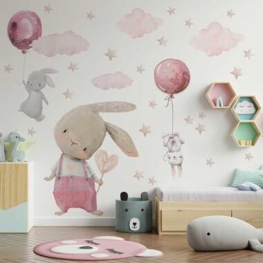 rozowe-kroliczki--balony-naklejki-na-sciane-dla-dzieci