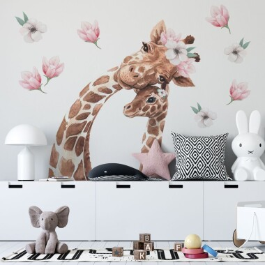 zyrafy-z-kwiatkami-naklejki-na-sciane-dla-dzieci