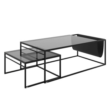 POCKET Minimalistyczny zestaw nowoczesnych stolików kawowych ze szklanym blatem i gazetnikiem.