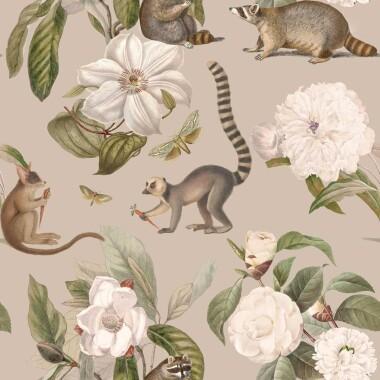 Tapeta-lemury i szopy pracze są dość zabawnym motywem wzoru, wspaniałe duże białe kwiaty nadają całości po prostu klasę.