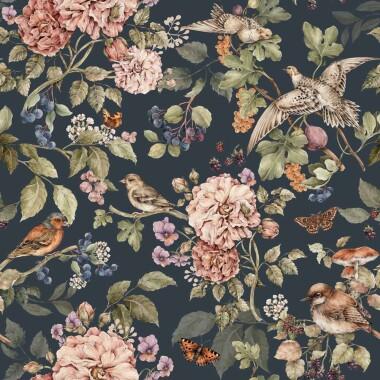 Secret Garden Dark Tapeta do pokoju dziecka w kwiaty