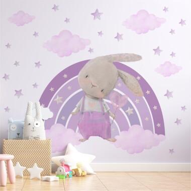 Fioletowy Króliczek Na Tęczy Z Gwiazdkami - Naklejki Na Ścianę Dla Dzieci